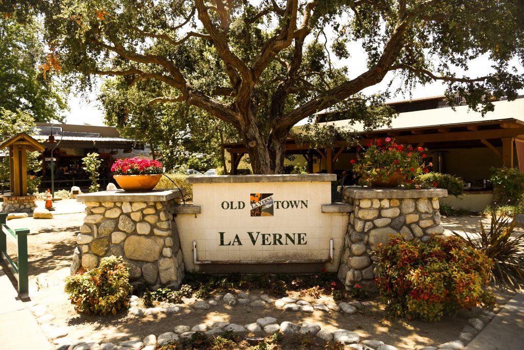 "sign says, ""Old Town La Verne"""